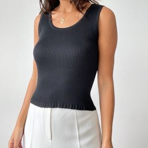 Vintage the limited 100% silk ribbed knit top S